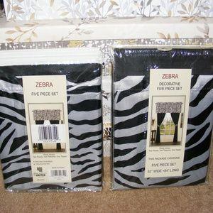 Zebra Five Piece Set Curtains 52x84 (x2)